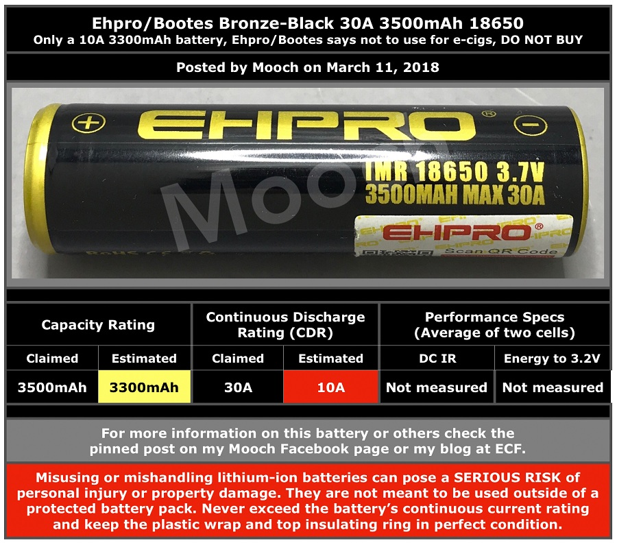 EHPRO-Bootes Bronze-Black 3500mAh 30A 18650 Battery Full Description