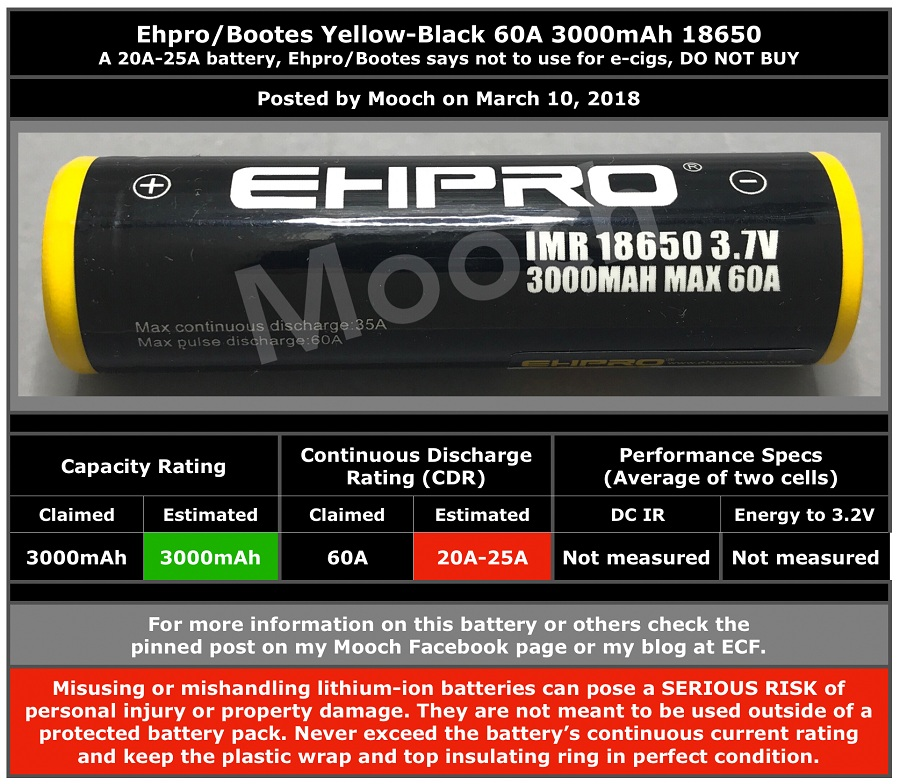EHPRO-Bootes Yellow-Black 3000mAh 60A 18650 Battery Full Description