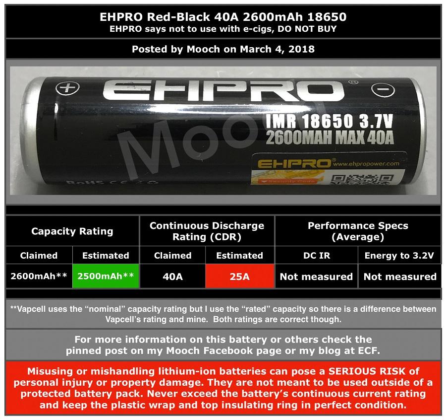 18650 Ehpro 2600 mAh 40A