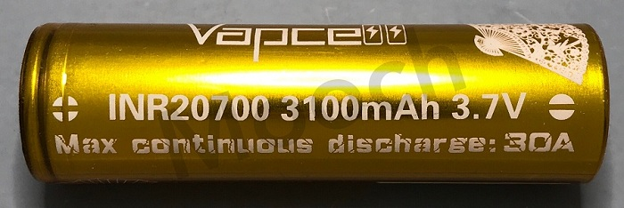 Vapcell Gold 30A 3100mAh 20700 Battery