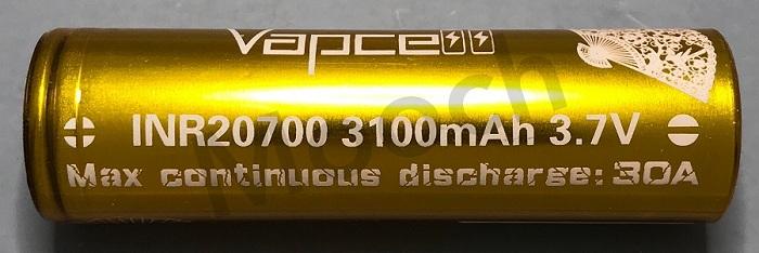 Vapcell Gold 30A 3100mAh 20700 Battery
